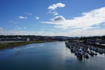 A view upstream of the Duwamish River from South Park Bridge.