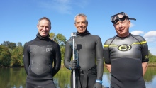 Mark Powell (middle) has had a couple of guest swimmers come out and join him, including Josh Baldi (left), the Regional Director of Northwest Washington for the Department of Ecology and Dennis Robertson (right), Councilmember for the City of Tukwila. Having friends out there on and in the water with him has been fantastic and makes swimming that much better!
